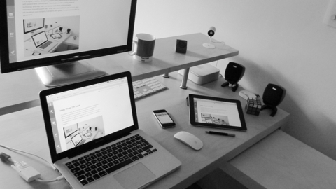 My Desk in a black and white fashion