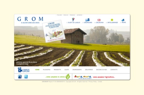 Grom's ugly designed website